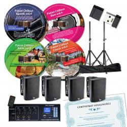 ZESTAW MP3 - WZMACNIACZ - GŁOŚNIKI - MUZYKA - ZASILANIE 230V/12V - BEZ RADIA